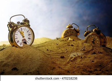sand running out of a nostalgic alarm clock, other watches sink into the sand, surreal metaphor in a fantasy landscape, concept of time passes or infinity, selected focus, very shallow depth of field