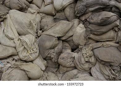 Sand sacks after the flood