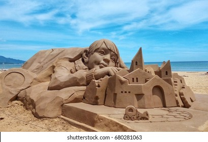 sand sculpture at Fulong beach is located adjacent to Fulong Village at the mouth of the Shuang River inTaiwan.