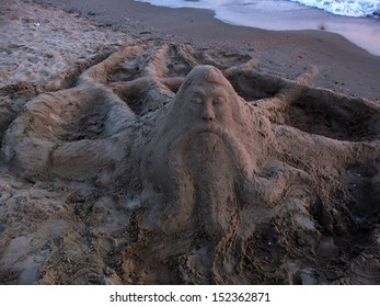 sand sculpture and the sea