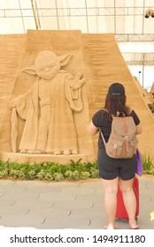 Sand Sculpture of Yoda from Star Wars on  31 August 2019 Sentosa Sandsation