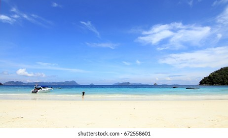 Sand and sea on a clear day in summer island in Thailand.