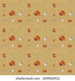 Sand seamless pattern with seashells