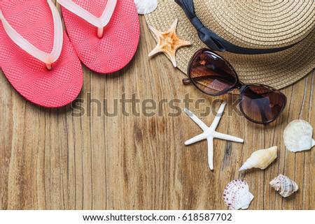 0ab6e4bd0 Sand Shells On Wooden Floor Summer Stock Photo (Edit Now) 618587702 ...