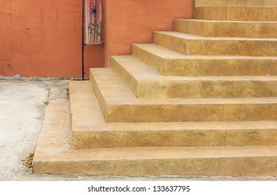 Sand stair steps in front of the building