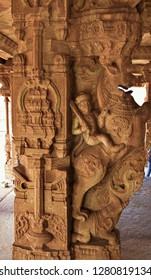 """ Sand stone Horse pillar of Vitthala temple, Hampi, Karnataka, South India"""