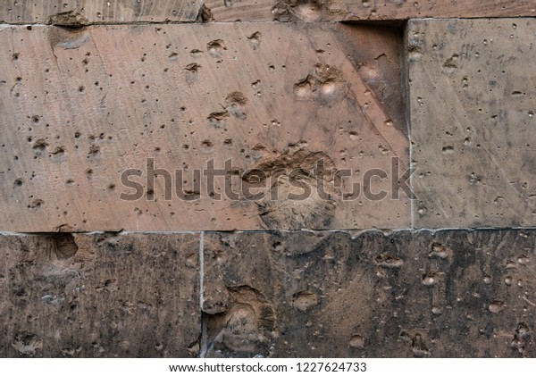 Sand Stone Wall Bullet Holes Damage Stock Photo (Edit Now