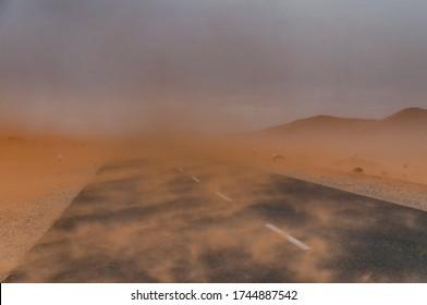 Sand storm in the Namib desert