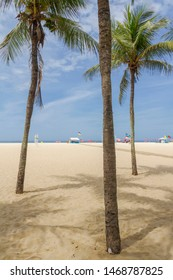 Sand strip view of Leme Beach, Rio de Janeiro, Brazil