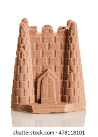 Sand Tower from the kinetic sand isolated on white background.