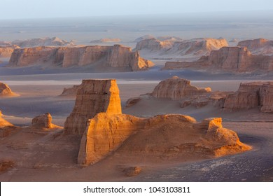 Sand towers of Kaluts in the Dasht-e-Lut desert. Iran