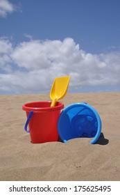 Sand toys at a beach