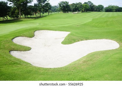 A Sand trap in a beautiful golf course in the Philippines