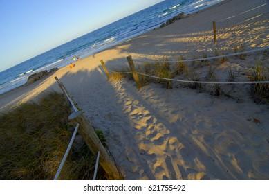 sand walkway to the beach roped