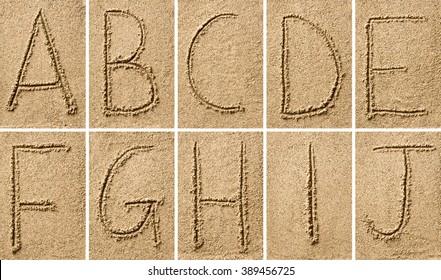 sand writing with alphabet