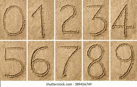 sand writing with number