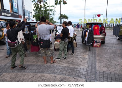 SANDAKAN,  17 SEPTEMBER 2017 - car booth market near Sandakan mall