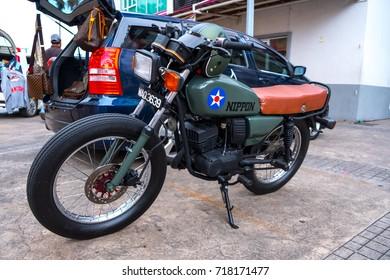 SANDAKAN, 17 SEPTEMBER 2017 - Old fashion motorcycle been displayed outside the Habour Mall, Sandakan