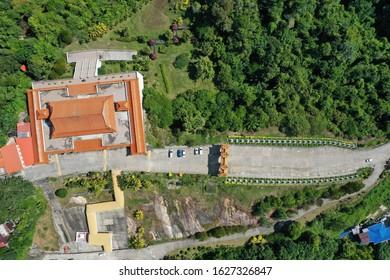 Sandakan, Sabah. 07 dec 2019 : Aerial photo Temple Puu Jih Shih at Sandakan.