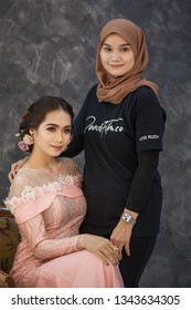 Sandakan Sabah 17 march 2019 Make up artist and hair do take picture with her talent before photoshoot .