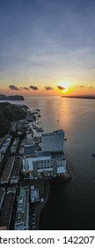 Sandakan, Sabah - April 26, 2019 : An Aerial Panoramic view of Sandakan Town at Sabah. Sandakan is a city in the Malaysian state of Sabah, on the northeast coast of Borneo.