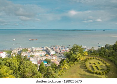 SANDAKAN, SABAH - JAN 10, 2019: Sea View From Puu Jih Shih Buddhist Temple At Sandakan