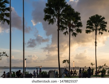 Sandakan, Sabah, Malaysia - 11 February 2013: Sandakan Harbour Square at sunset