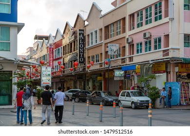 Sandakan, Sabah, Malaysia - 11 February 2013: Jalan Pryer with its small hotels and backpacker lodges, seen from Sandakan Harbour Square