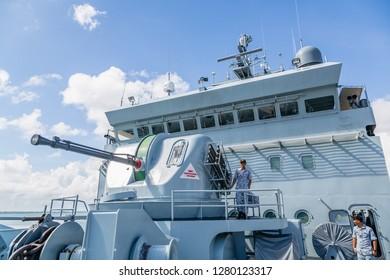 Sandakan, Sabah, Malaysia - December 12 2018: Bofors 57 mm L/70 naval artillery gun of KD MAHAWANGSA (Hull number: 1504), a Royal Malaysian Navy 4,300 ton multi-role support ship