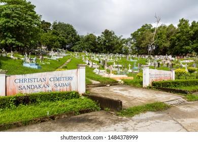 Sandakan, Sabah, Malaysia - February 10 2013: Historical Christian Cemetery Sandakan (founded 1883) in Sandakan, Sabah, Malaysia