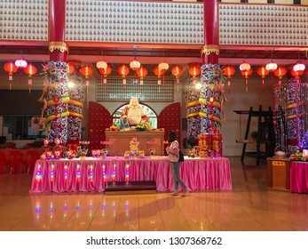 Sandakan, Sabah, Malaysia - Febuary 06, 2019 : An interiors of Puu Jih Shih Temple with decorations for Chinese New Year in the background