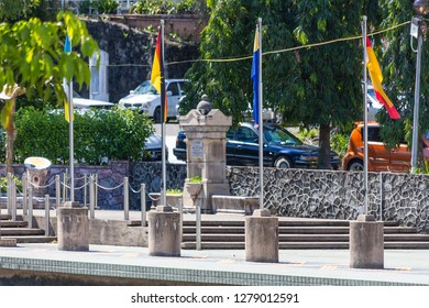 Sandakan, Sabah, Malaysia - January 1 2014: MPS Square with Sandakan Liberation Monument (left) and William Pryer Memorial (right)