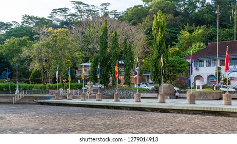 Sandakan, Sabah, Malaysia - January 1 2014: MPS-Square with several monument such as Sandakan Liberation Monument  and William Pryer Memorial