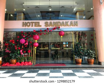 SANDAKAN, SABAH MALAYSIA - JANUARY 27, 2019: Hotel Sandakan signboard.