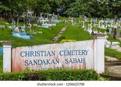 Sandakan, Sabah, Malaysia - March 10 2018: Historical Christian Cemetery Sandakan (founded 1883) in Sandakan, Sabah, Malaysia