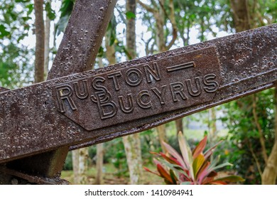"""Sandakan, Sabah, Malaysia - March 29 2016: The sabotaged Ruston-Bucyrus Dredger in Sandakan Memorial Park, the former POW Camp which is infamous for the so called """"Sandakan Death March"""""""
