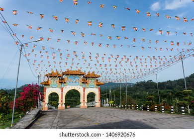 Sandakan, Sabah, Malaysia - May 18, 2019 : The outside of Puu Jih Shih Temple with decorations. Sandakan famous temple with tourist visited.