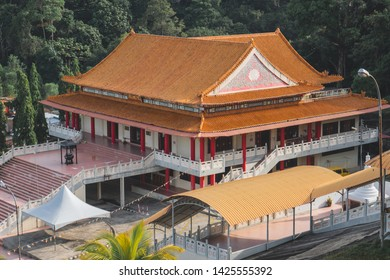 Sandakan, Sabah, Malaysia - May 18, 2019 : The second temple after the Puu Jih Shih Temple with decorations. Sandakan famous temple with tourist visited.
