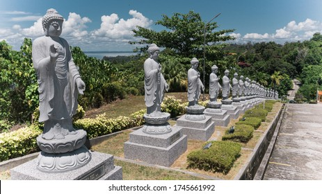 Sandakan, Sabah, Malaysia - May 28, 2020 : The outside of Puu Jih Shih Temple with Chinese art's design. Sandakan famous temple with tourist visited all the time.