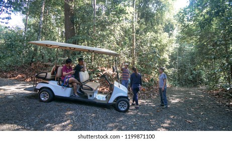 Sandakan Sabah, Malaysia - September 30, 2018 : A group of unidentified tourists in buggy cart on Rainforest Discovery Centre(RDC), Sepilok Sandakan. They are enjoyable the famous nature trails at RDC