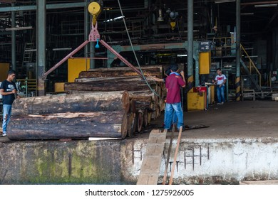 Sandakan, Sabah - March 28 2016: Feeding point of the plywood factory. Timber logs, after being lifted out of the log pond, were fed into the veneer peeling machine.