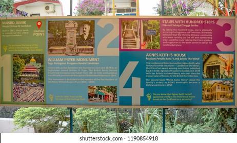 Sandakan, Sabah - September 16, 2018 : New Information Board of Sandakan Heritage Trail is located at the steps leading to Wisma Sandakan and Wisma Perbandaran Majlis Perbandaran.