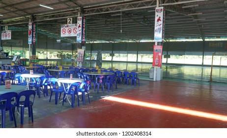 "Sandakan, Sabah - September 16, 2018 : a view from the interior of Sandakan Futsal Restaurant or local called ""Futsal Restoran"" at mile 4 Sandakan. One of famous restaurant at Sandakan, Sabah."
