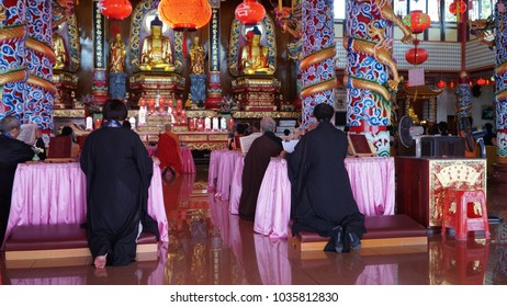 Sandakan, Sabah-Feb 26, 2018: Chinese-Buddhist people praying for a prosperous new year after the Chinese New Year Celebration in Puu Jih Shih Temple at the hilltop of Tanah Merah at Sandakan Bay.
