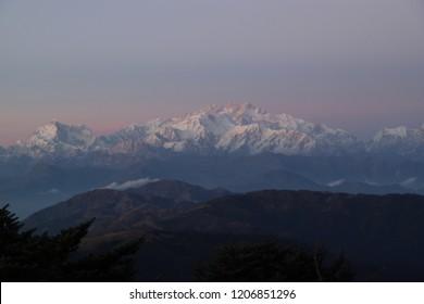 Sandakphu Mountain at Sunrise, Darjeeling District, India