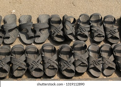 Sandals from old tires, Street market, Bulawayo, Zimbabwe