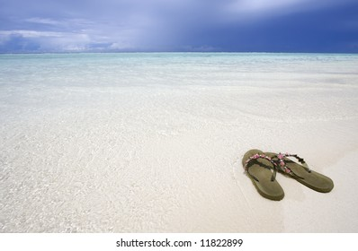 Sandals on the beach, Maldives