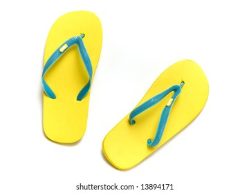 sandals slippers on the white background  (isolated with clipping path) with shadow