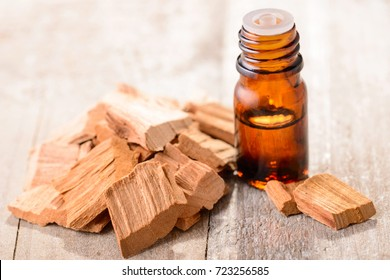 Sandalwood essential oil on the table