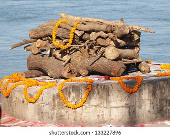 sandalwood and flowers for cremate ceremony on ganges in Varanasi